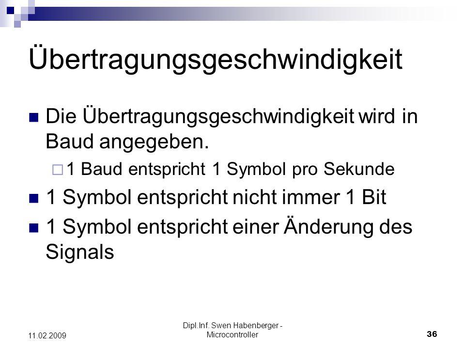 Dipl.Inf. Swen Habenberger - Microcontroller36 11.02.2009 Übertragungsgeschwindigkeit Die Übertragungsgeschwindigkeit wird in Baud angegeben. 1 Baud e