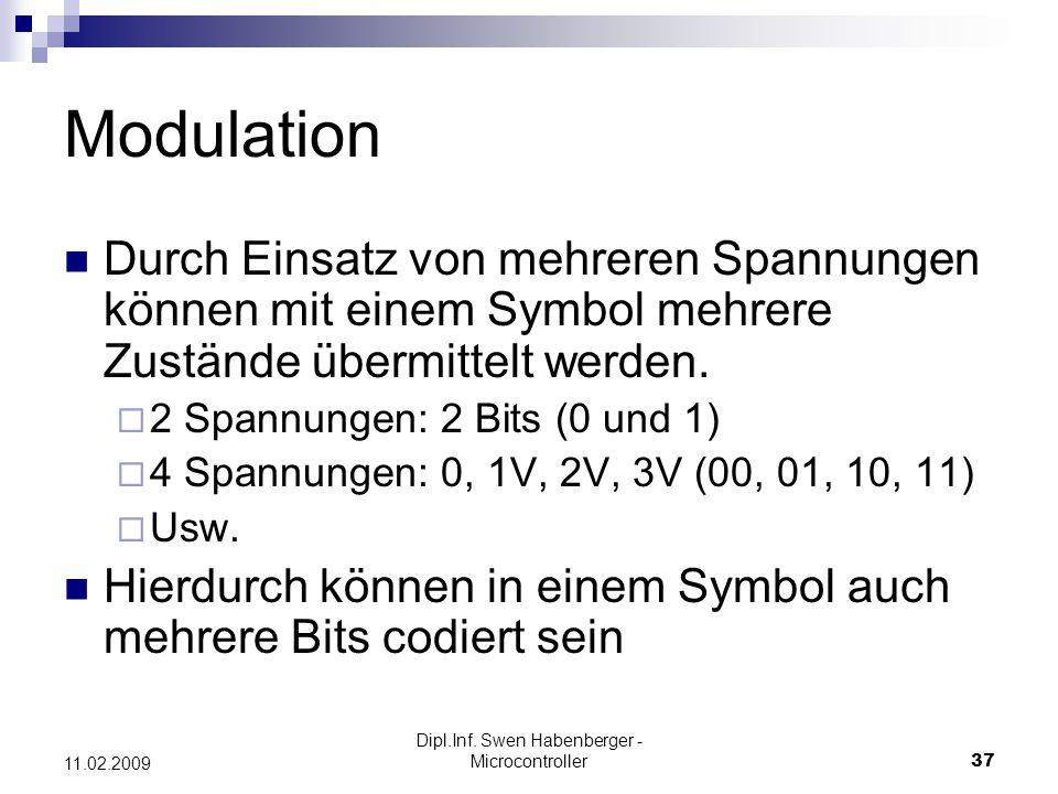 Dipl.Inf. Swen Habenberger - Microcontroller37 11.02.2009 Modulation Durch Einsatz von mehreren Spannungen können mit einem Symbol mehrere Zustände üb