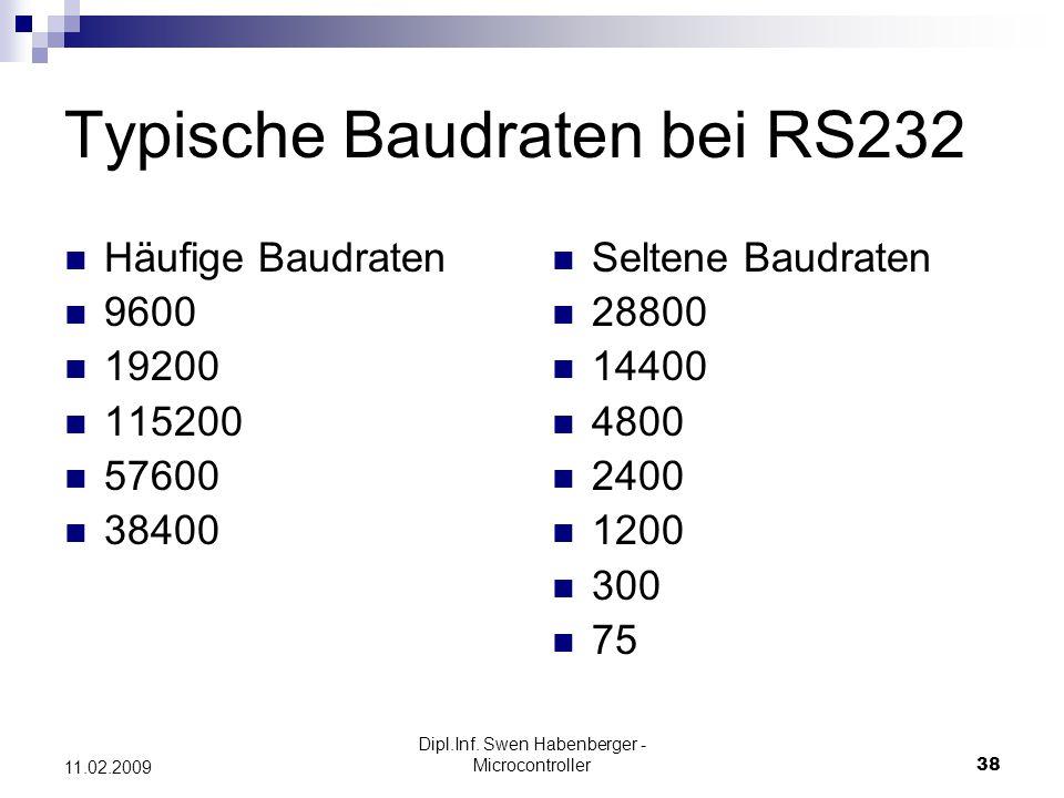 Dipl.Inf. Swen Habenberger - Microcontroller38 11.02.2009 Typische Baudraten bei RS232 Häufige Baudraten 9600 19200 115200 57600 38400 Seltene Baudrat