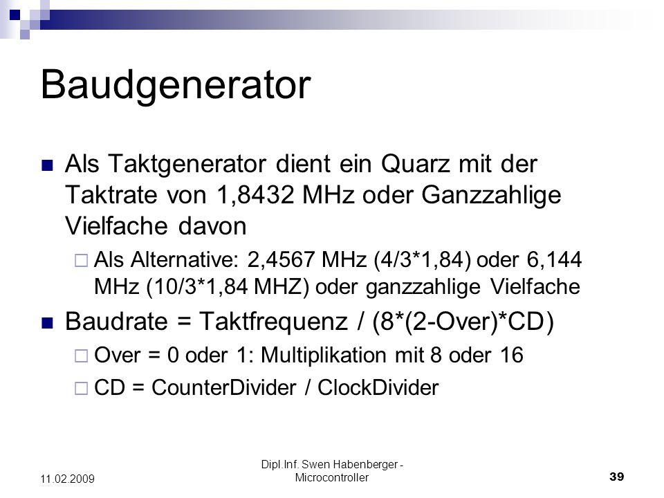 Dipl.Inf. Swen Habenberger - Microcontroller39 11.02.2009 Baudgenerator Als Taktgenerator dient ein Quarz mit der Taktrate von 1,8432 MHz oder Ganzzah