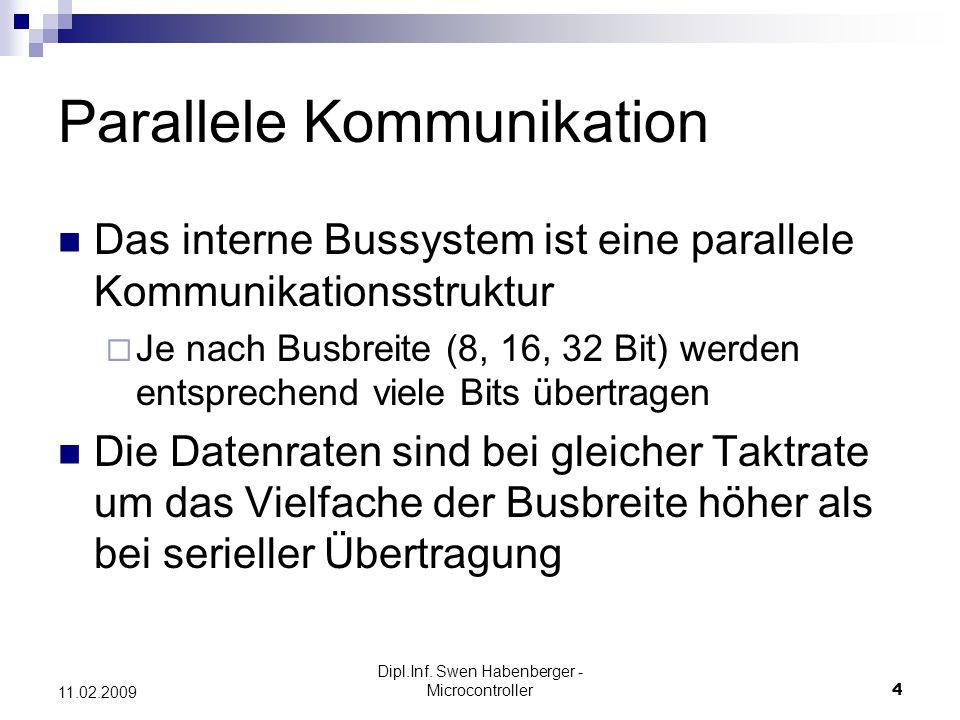 Dipl.Inf. Swen Habenberger - Microcontroller4 11.02.2009 Parallele Kommunikation Das interne Bussystem ist eine parallele Kommunikationsstruktur Je na
