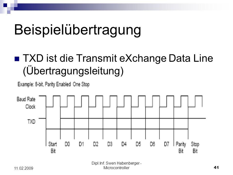 Dipl.Inf. Swen Habenberger - Microcontroller41 11.02.2009 Beispielübertragung TXD ist die Transmit eXchange Data Line (Übertragungsleitung)