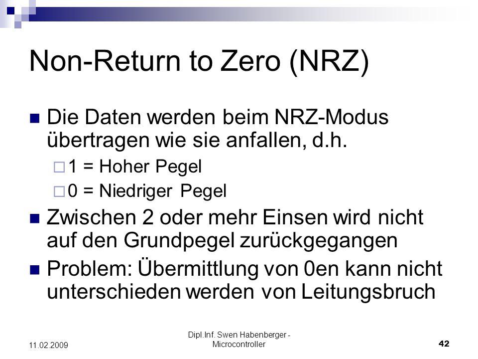 Dipl.Inf. Swen Habenberger - Microcontroller42 11.02.2009 Non-Return to Zero (NRZ) Die Daten werden beim NRZ-Modus übertragen wie sie anfallen, d.h. 1