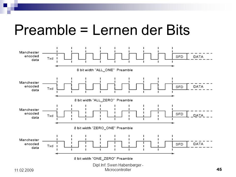 Dipl.Inf. Swen Habenberger - Microcontroller45 11.02.2009 Preamble = Lernen der Bits