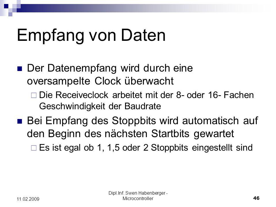 Dipl.Inf. Swen Habenberger - Microcontroller46 11.02.2009 Empfang von Daten Der Datenempfang wird durch eine oversampelte Clock überwacht Die Receivec