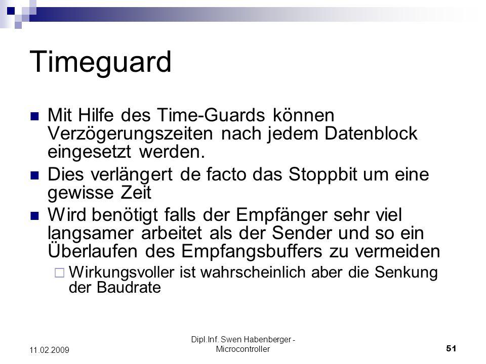 Dipl.Inf. Swen Habenberger - Microcontroller51 11.02.2009 Timeguard Mit Hilfe des Time-Guards können Verzögerungszeiten nach jedem Datenblock eingeset