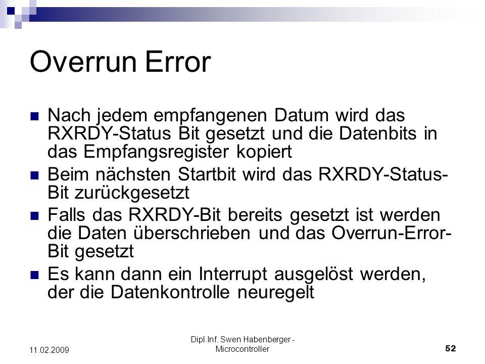 Dipl.Inf. Swen Habenberger - Microcontroller52 11.02.2009 Overrun Error Nach jedem empfangenen Datum wird das RXRDY-Status Bit gesetzt und die Datenbi