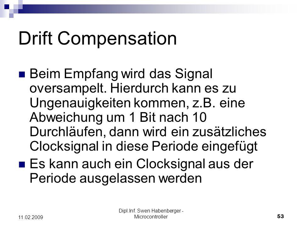 Dipl.Inf. Swen Habenberger - Microcontroller53 11.02.2009 Drift Compensation Beim Empfang wird das Signal oversampelt. Hierdurch kann es zu Ungenauigk