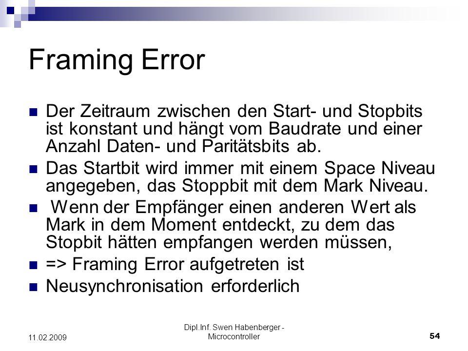 Dipl.Inf. Swen Habenberger - Microcontroller54 11.02.2009 Framing Error Der Zeitraum zwischen den Start- und Stopbits ist konstant und hängt vom Baudr