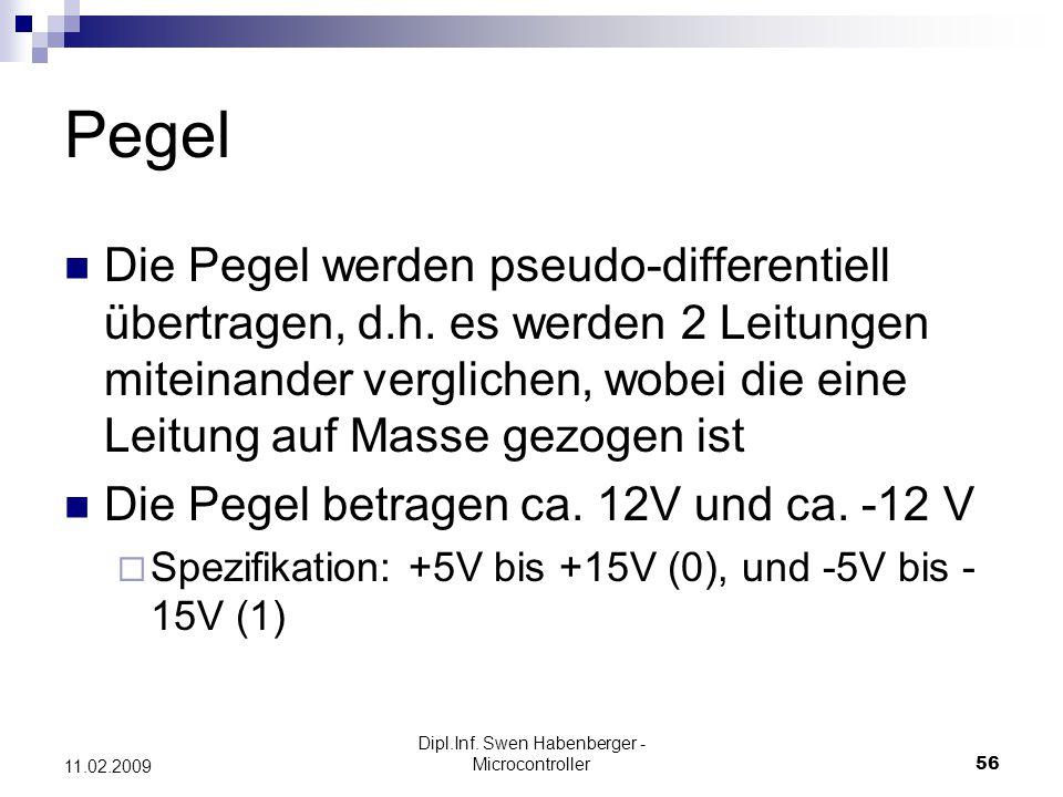 Dipl.Inf. Swen Habenberger - Microcontroller56 11.02.2009 Pegel Die Pegel werden pseudo-differentiell übertragen, d.h. es werden 2 Leitungen miteinand