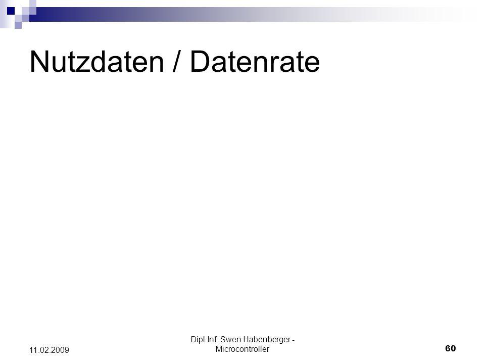 Dipl.Inf. Swen Habenberger - Microcontroller60 11.02.2009 Nutzdaten / Datenrate