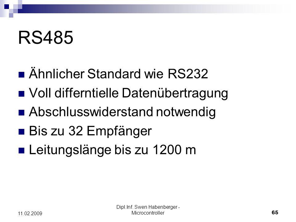 Dipl.Inf. Swen Habenberger - Microcontroller65 11.02.2009 RS485 Ähnlicher Standard wie RS232 Voll differntielle Datenübertragung Abschlusswiderstand n