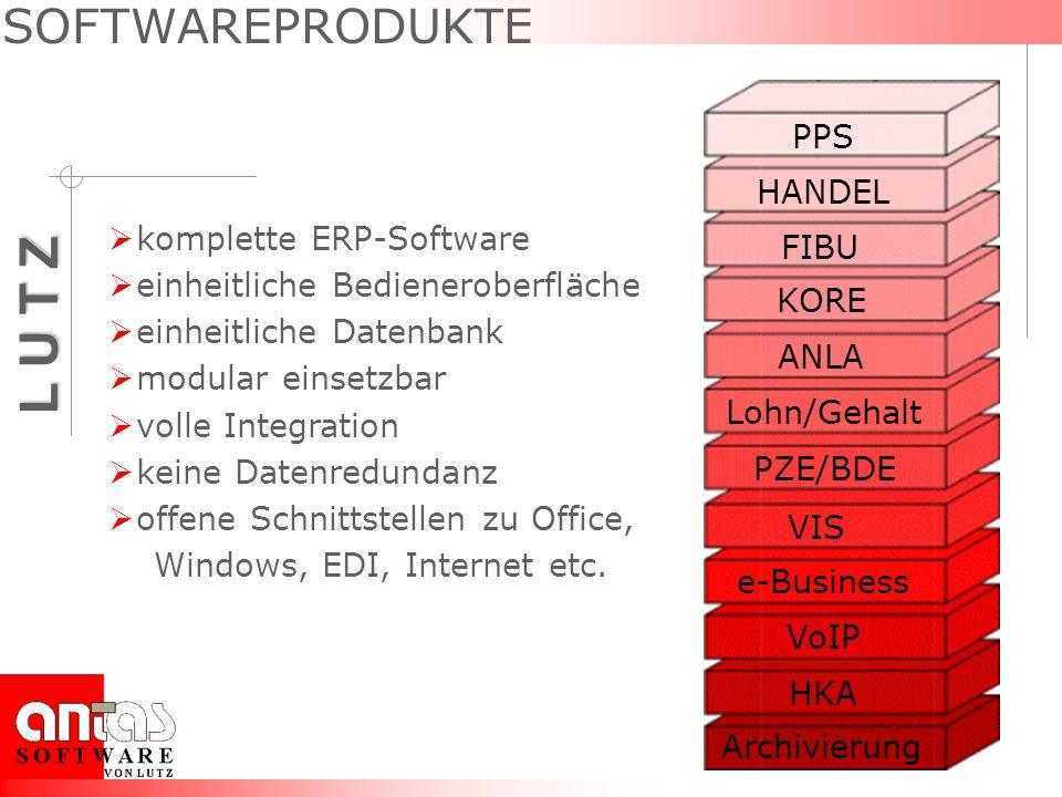 L U T Z PPS HANDEL FIBU KORE PZE/BDE ANLA e-Business Archivierung Lohn/Gehalt SOFTWAREPRODUKTE komplette ERP-Software einheitliche Bedieneroberfläche