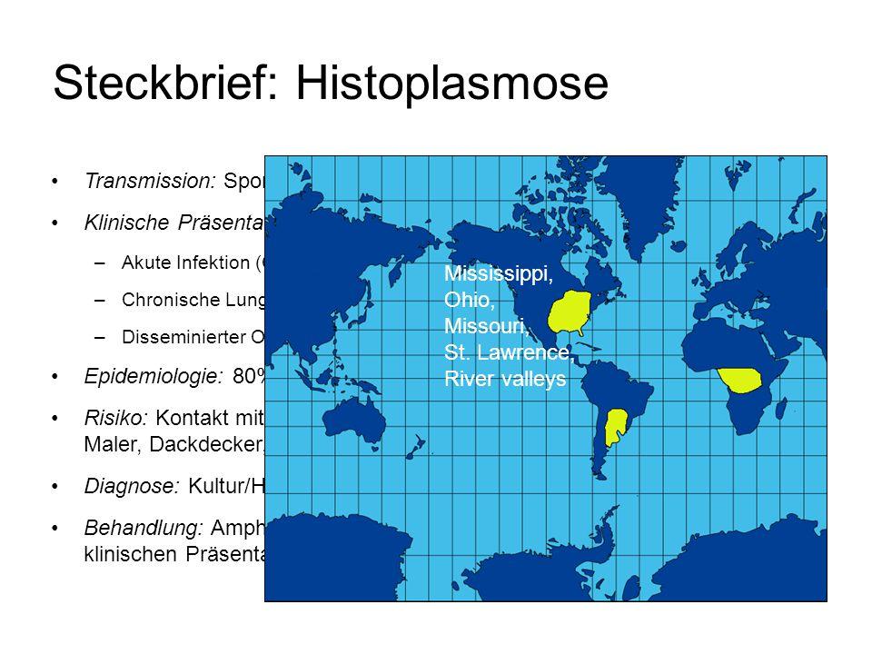 Steckbrief: Histoplasmose Transmission: Sporen Klinische Präsentation: –Akute Infektion (Grippe-artige Erkrankung) –Chronische Lungenaffektion –Dissem