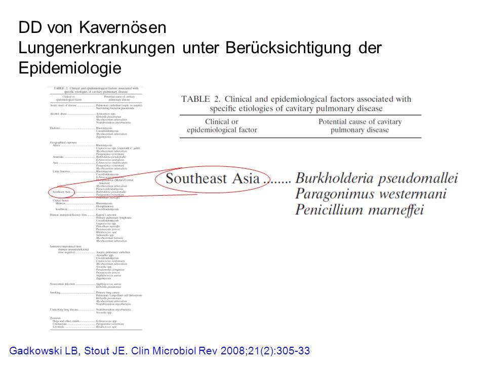 DD von Kavernösen Lungenerkrankungen unter Berücksichtigung der Epidemiologie Gadkowski LB, Stout JE. Clin Microbiol Rev 2008;21(2):305-33