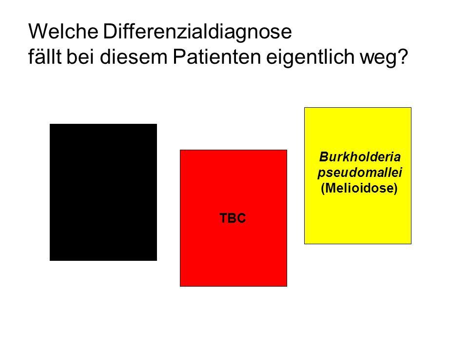 Welche Differenzialdiagnose fällt bei diesem Patienten eigentlich weg? TBC Penicillium marneffei Burkholderia pseudomallei (Melioidose)