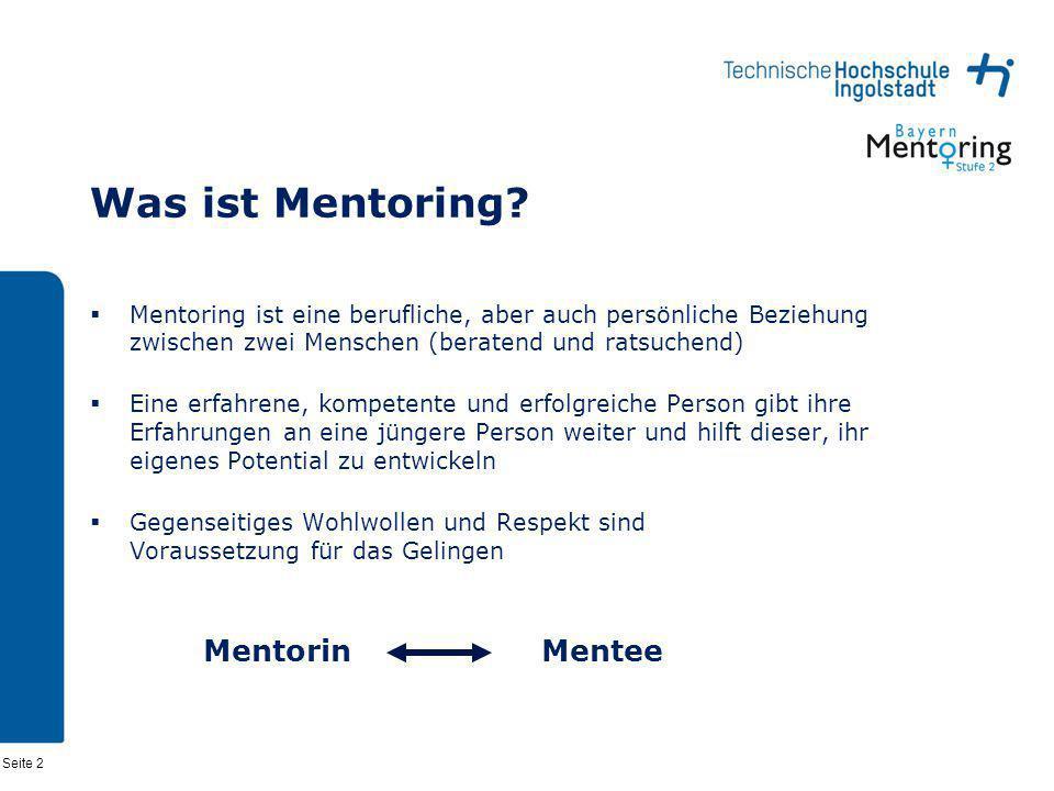 Seite 2 Was ist Mentoring? Mentoring ist eine berufliche, aber auch persönliche Beziehung zwischen zwei Menschen (beratend und ratsuchend) Eine erfahr