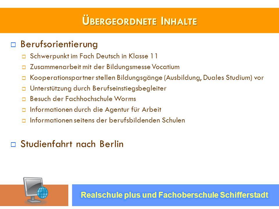 Ü BERGEORDNETE I NHALTE Berufsorientierung Schwerpunkt im Fach Deutsch in Klasse 11 Zusammenarbeit mit der Bildungsmesse Vocatium Kooperationspartner