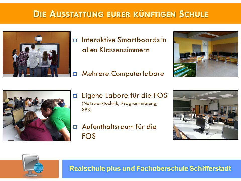 D IE A USSTATTUNG EURER KÜNFTIGEN S CHULE Interaktive Smartboards in allen Klassenzimmern Mehrere Computerlabore Eigene Labore für die FOS (Netzwerkte