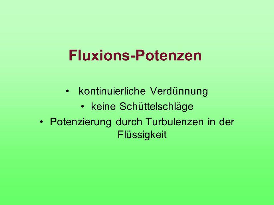 Fluxions-Potenzen kontinuierliche Verdünnung keine Schüttelschläge Potenzierung durch Turbulenzen in der Flüssigkeit