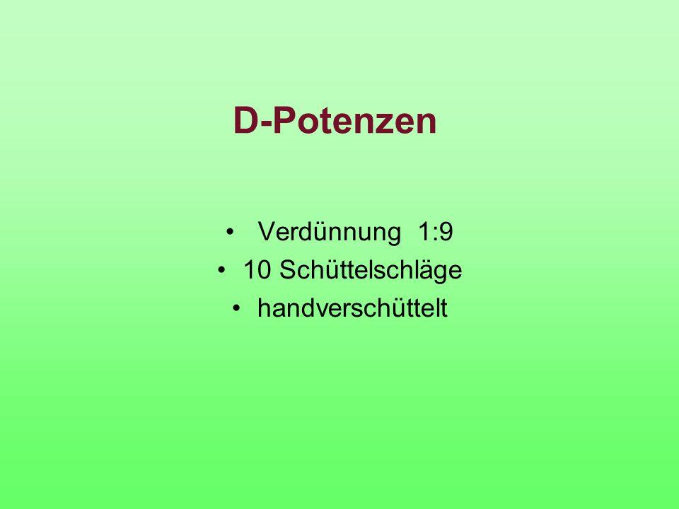 D-Potenzen Verdünnung 1:9 10 Schüttelschläge handverschüttelt