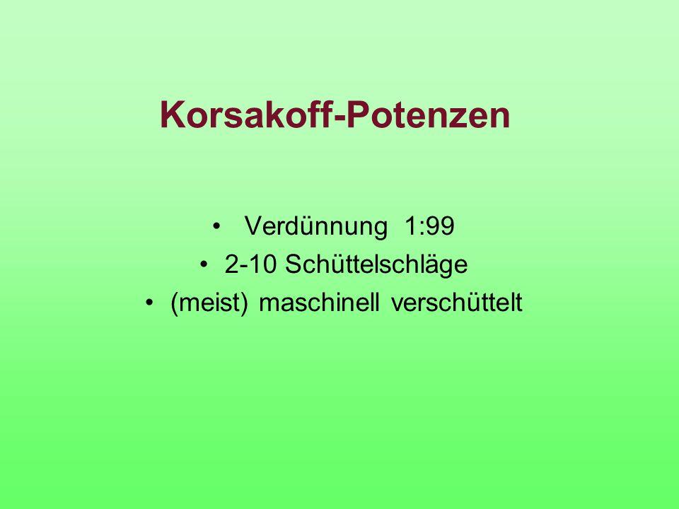 Korsakoff-Potenzen Verdünnung 1:99 2-10 Schüttelschläge (meist) maschinell verschüttelt