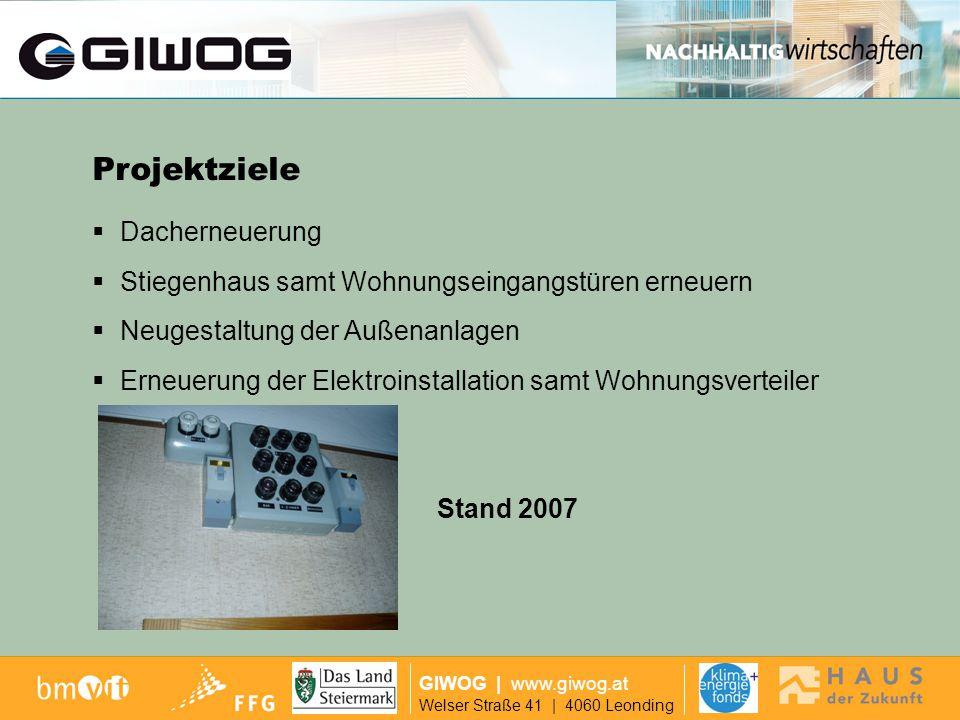 Ausgangslage GIWOG | www.giwog.at Welser Straße 41 | 4060 Leonding Einsatz einer Solarfassade zur Schaffung einer warmen Klimazone Innovationsgehalt