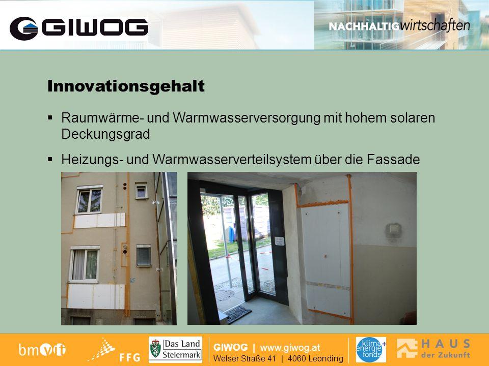 Ausgangslage GIWOG | www.giwog.at Welser Straße 41 | 4060 Leonding großflächiges Klimawandkonzept über die Außenhülle (Bauteilaktivierung) Innovationsgehalt