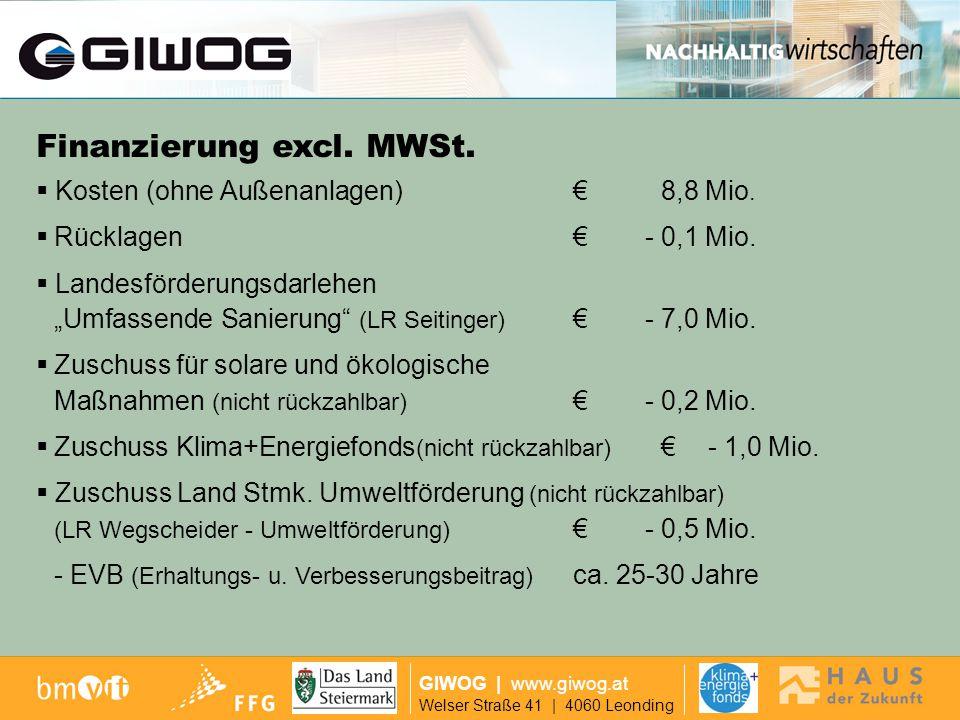 Finanzierung GIWOG | www.giwog.at Welser Straße 41 | 4060 Leonding Erreichtes Ziel Geringe Beeinträchtigung während der Bauphase für die Bewohner KEINE ABSIEDELUNG NOTWENDIG.
