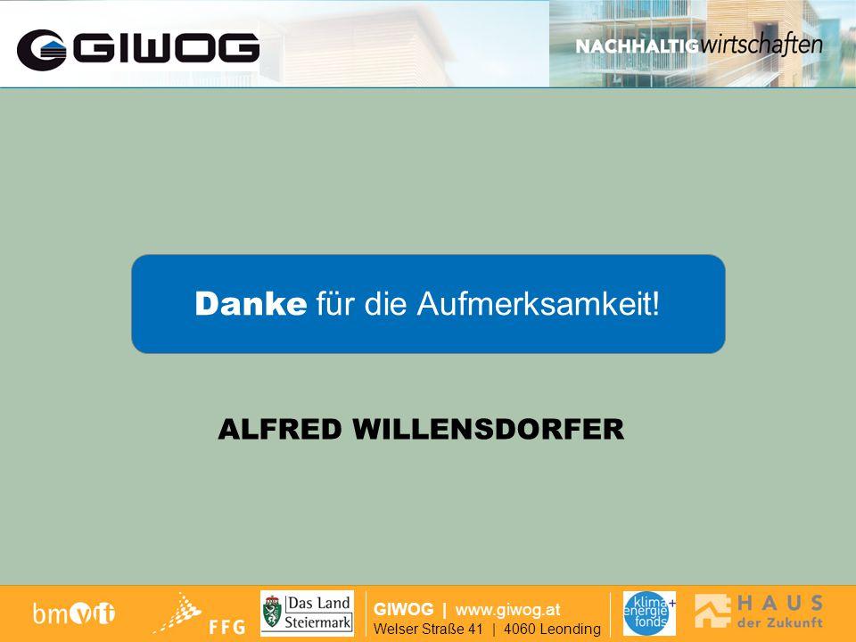 Auf Wiedersehen GIWOG   www.giwog.at Welser Straße 41   4060 Leonding Danke für die Aufmerksamkeit! ALFRED WILLENSDORFER