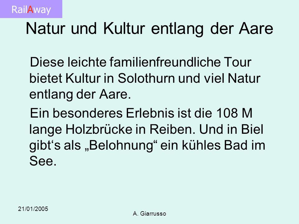 RailAway 21/01/2005 A. Giarrusso Natur und Kultur entlang der Aare Diese leichte familienfreundliche Tour bietet Kultur in Solothurn und viel Natur en