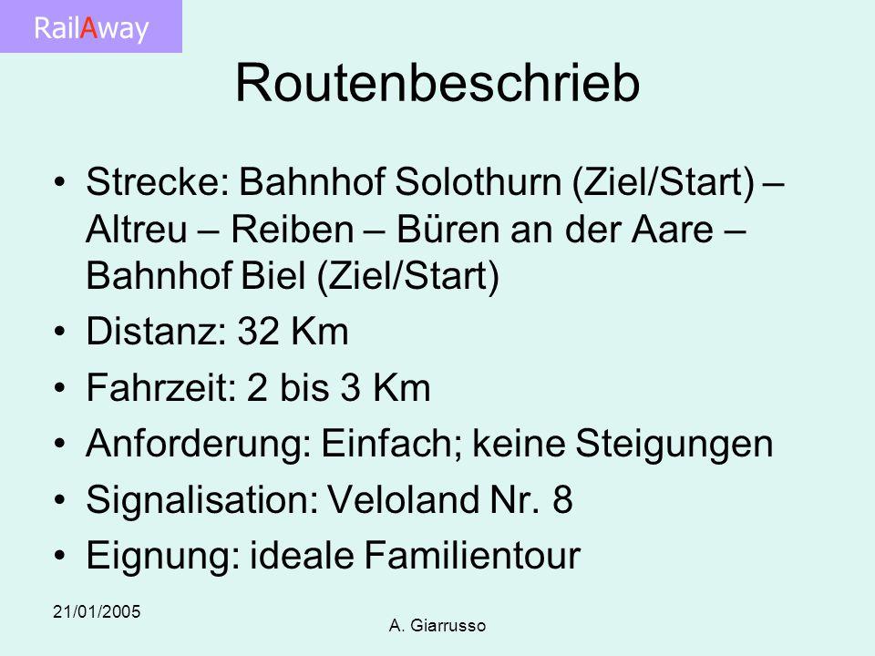 RailAway 21/01/2005 A. Giarrusso Routenbeschrieb Strecke: Bahnhof Solothurn (Ziel/Start) – Altreu – Reiben – Büren an der Aare – Bahnhof Biel (Ziel/St