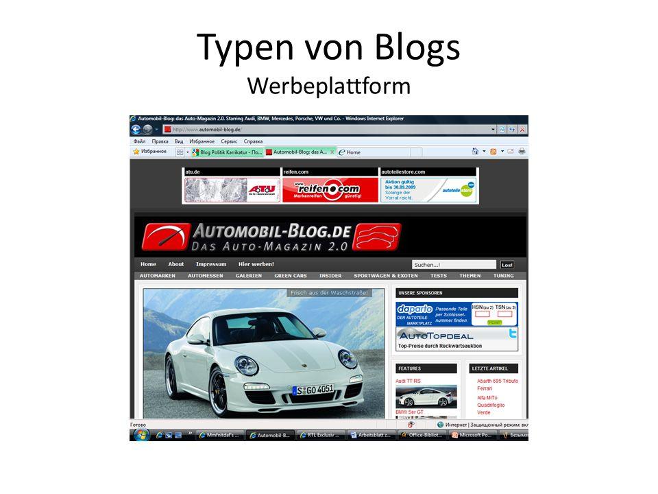 Typen von Blogs Werbeplattform
