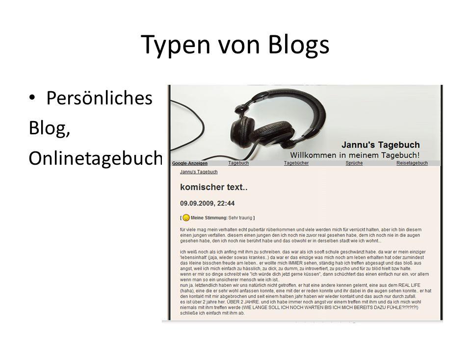 Typen von Blogs Persönliches Blog, Onlinetagebuch