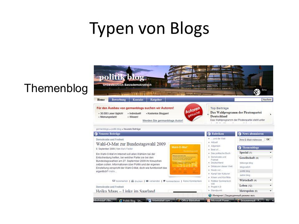 Typen von Blogs Themenblog
