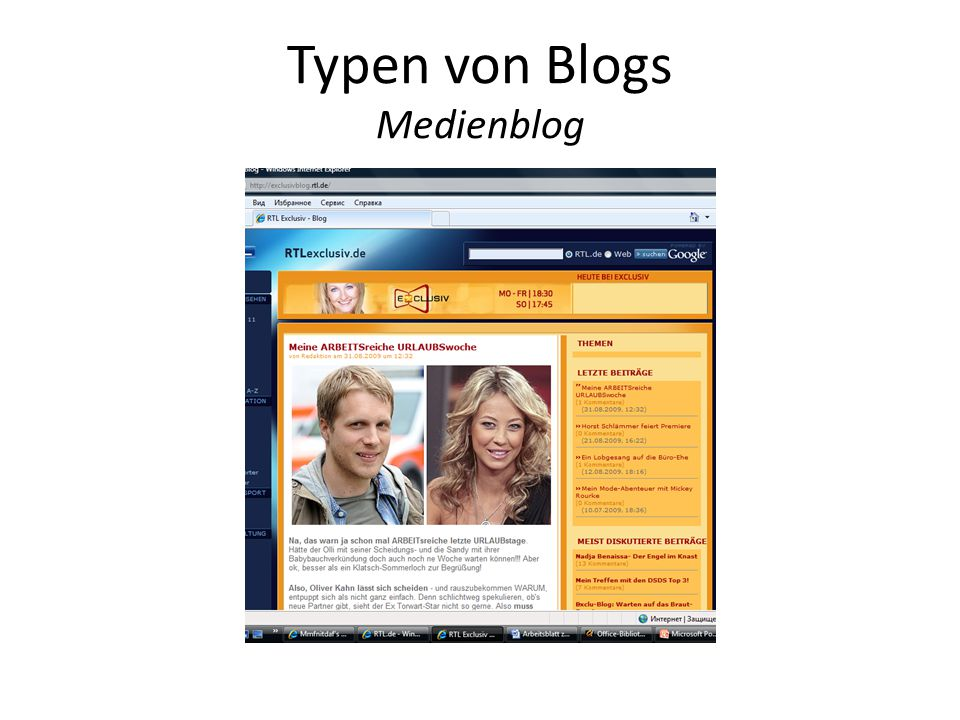 Typen von Blogs Medienblog