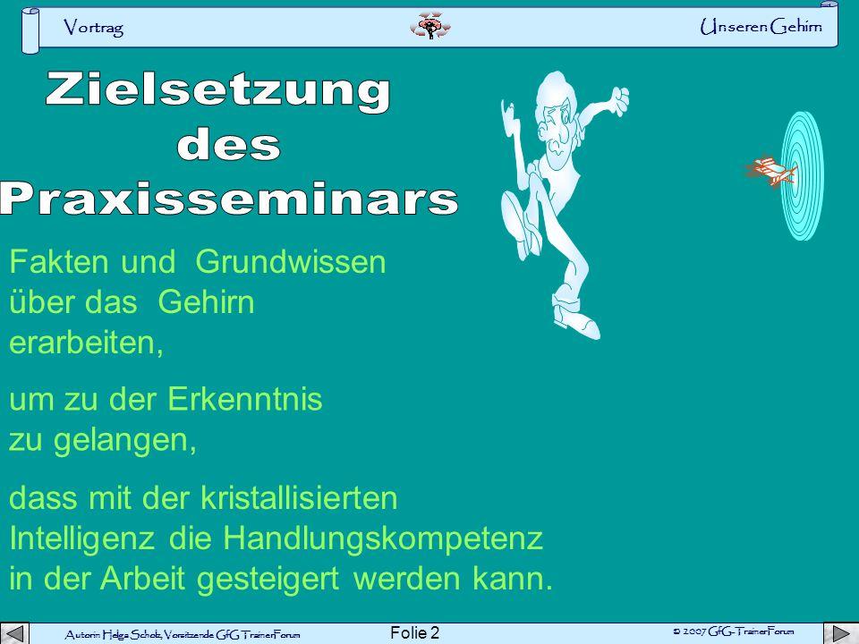 Vortrag Autorin Helga Scholz, Vorsitzende GfG TrainerForum © 2007 GfG-TrainerForum Folie 1 Unseren Gehirn