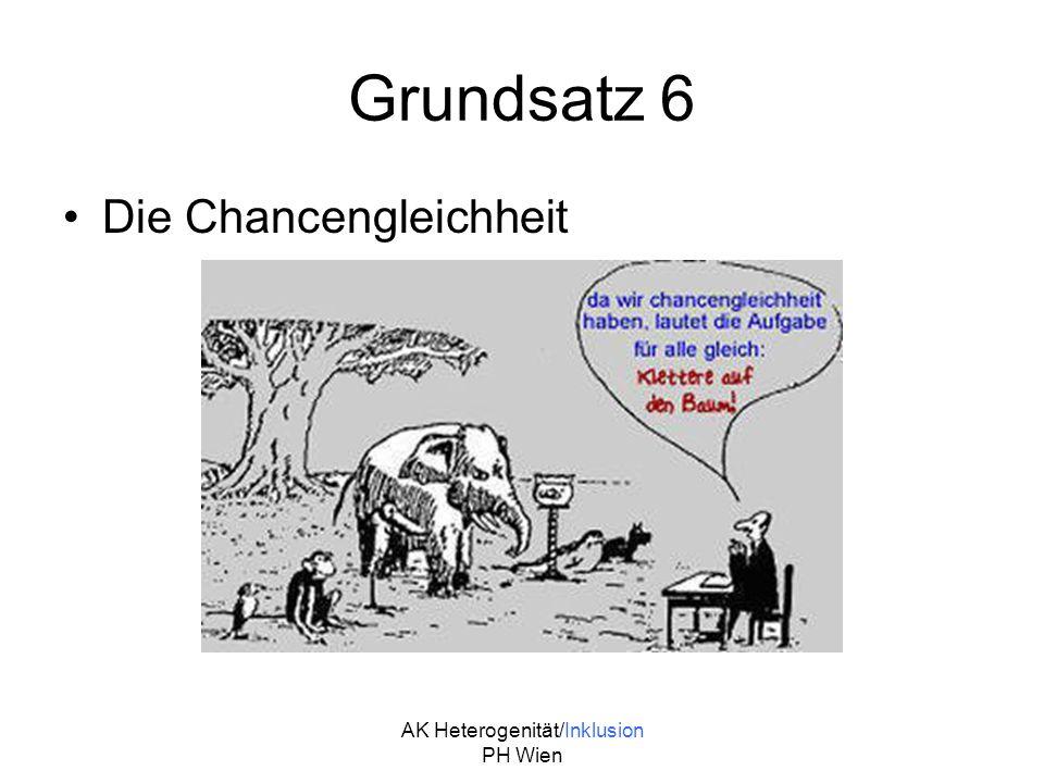 AK Heterogenität/Inklusion PH Wien Grundsatz 6 Die Chancengleichheit