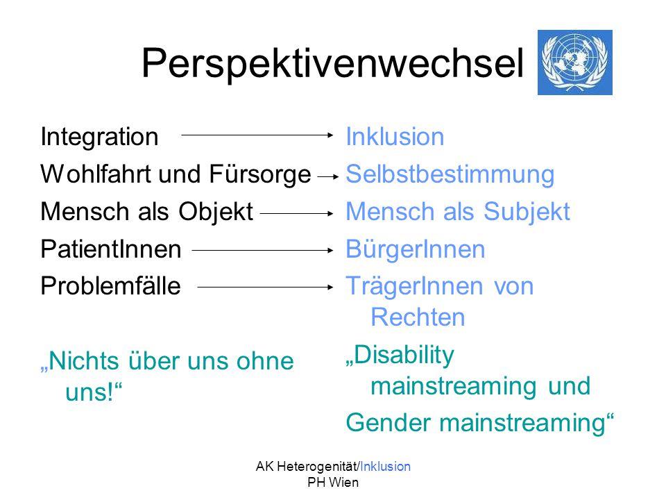 AK Heterogenität/Inklusion PH Wien Perspektivenwechsel Integration Wohlfahrt und Fürsorge Mensch als Objekt PatientInnen Problemfälle Nichts über uns