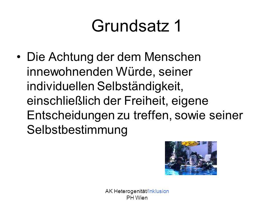 AK Heterogenität/Inklusion PH Wien Grundsatz 2 Die Nichtdiskriminierung