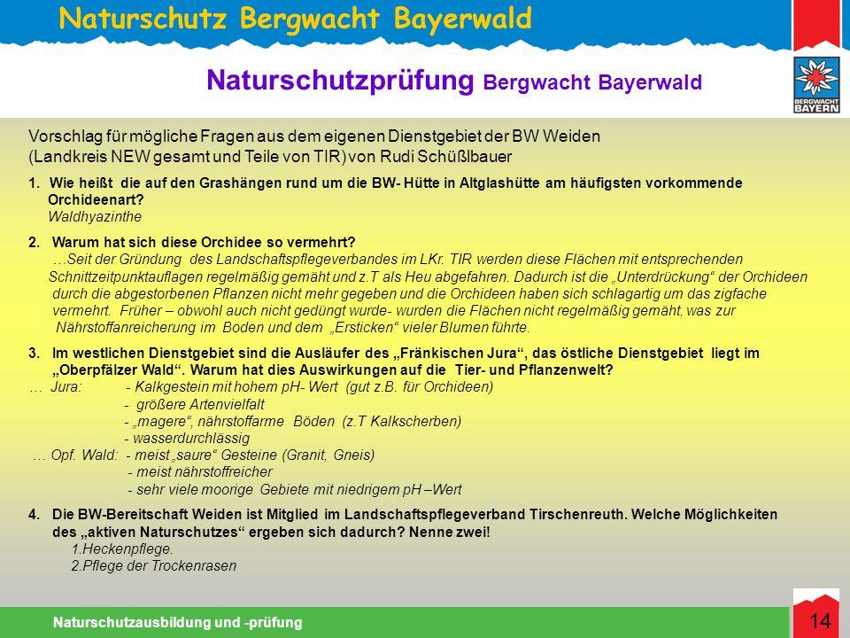 Naturschutz Bergwacht Bayerwald Naturschutzausbildung und -prüfung 14 Naturschutzprüfung Bergwacht Bayerwald Vorschlag für mögliche Fragen aus dem eigenen Dienstgebiet der BW Weiden (Landkreis NEW gesamt und Teile von TIR) von Rudi Schüßlbauer 1.