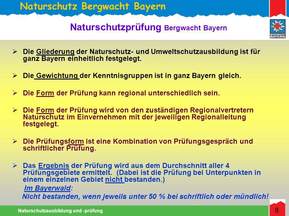 Naturschutz Bergwacht Bayern Naturschutzausbildung und -prüfung 8 Die Gliederung der Naturschutz- und Umweltschutzausbildung ist für ganz Bayern einheitlich festgelegt.