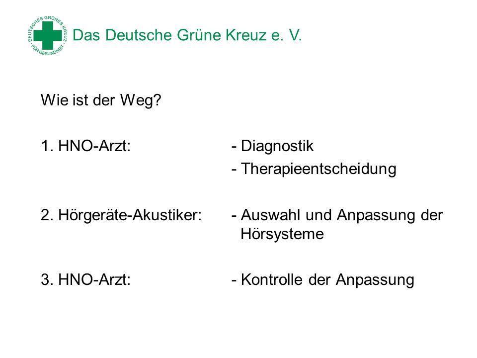 Das Deutsche Grüne Kreuz e. V. Wie ist der Weg? 1. HNO-Arzt:- Diagnostik - Therapieentscheidung 2. Hörgeräte-Akustiker:- Auswahl und Anpassung der Hör