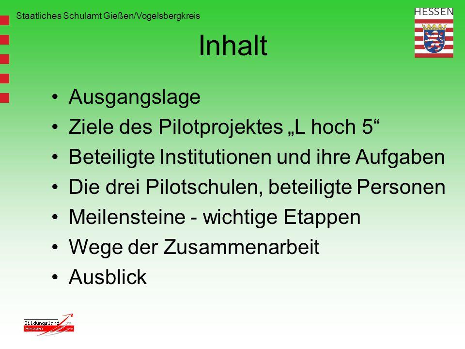 Staatliches Schulamt Gießen/Vogelsbergkreis Inhalt Ausgangslage Ziele des Pilotprojektes L hoch 5 Beteiligte Institutionen und ihre Aufgaben Die drei