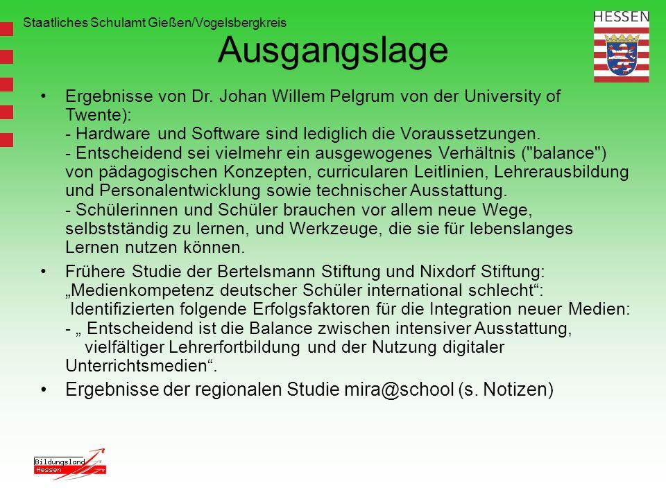 Staatliches Schulamt Gießen/Vogelsbergkreis Ausgangslage Ergebnisse von Dr. Johan Willem Pelgrum von der University of Twente): - Hardware und Softwar