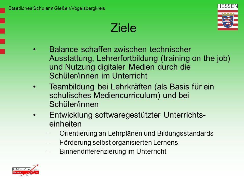 Staatliches Schulamt Gießen/Vogelsbergkreis Ziele Balance schaffen zwischen technischer Ausstattung, Lehrerfortbildung (training on the job) und Nutzu