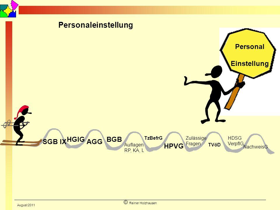 © Reiner Holzhausen Personal Einstellung AGG HGlG Auflagen RP, KA, L HPVG Zulässige Fragen TVöD SGB IX BGB HDSG VerpflG NachweisG Personaleinstellung
