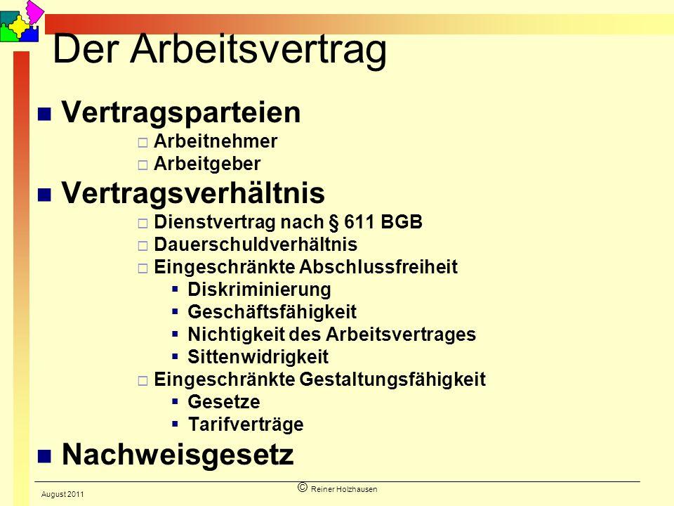 © Reiner Holzhausen Der Arbeitsvertrag Vertragsparteien Arbeitnehmer Arbeitgeber Vertragsverhältnis Dienstvertrag nach § 611 BGB Dauerschuldverhältnis