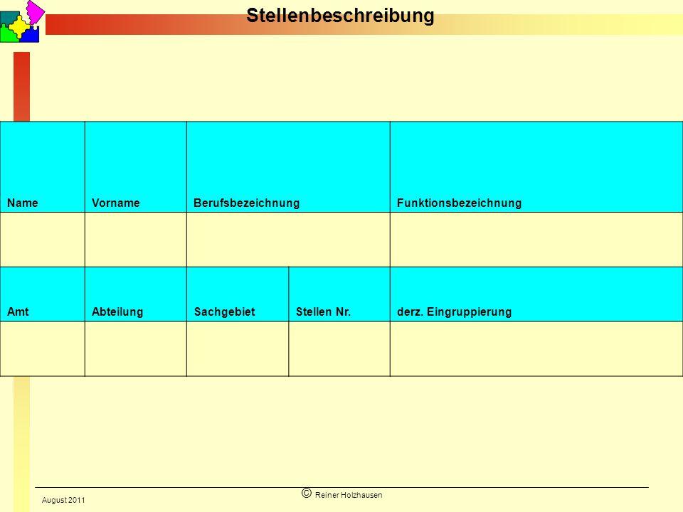 © Reiner Holzhausen Name VornameBerufsbezeichnungFunktionsbezeichnung Amt AbteilungSachgebietStellen Nr.derz. Eingruppierung Stellenbeschreibung Augus