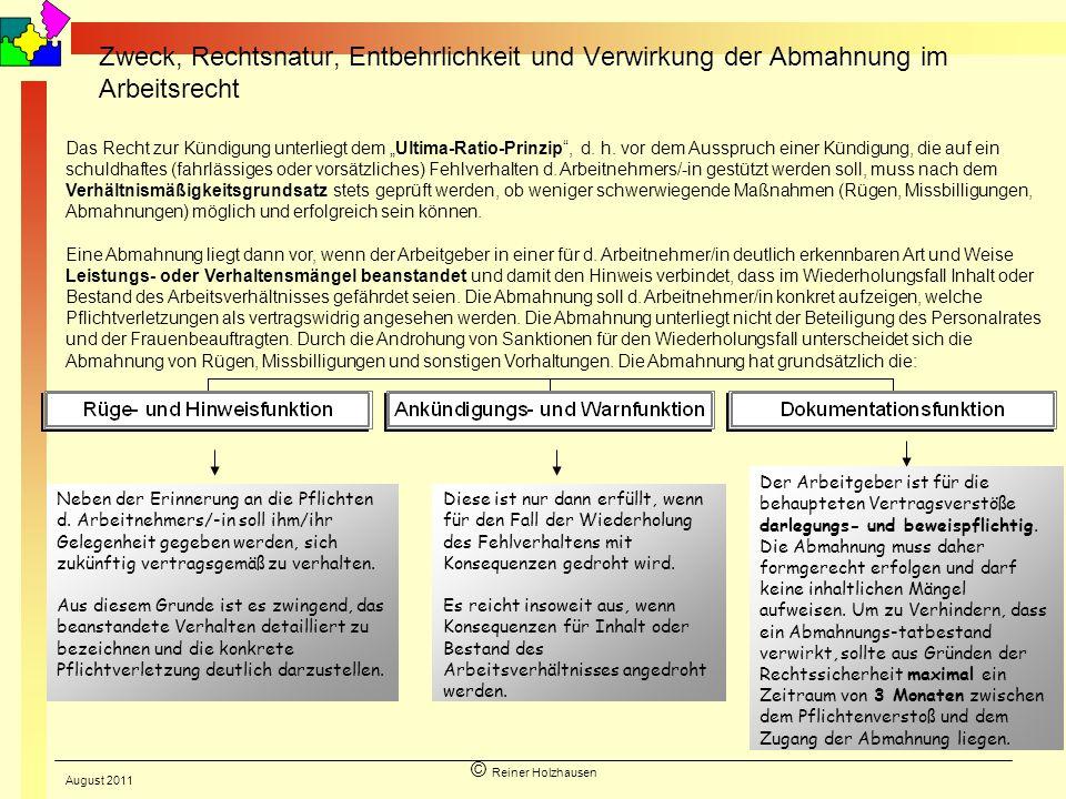© Reiner Holzhausen Zweck, Rechtsnatur, Entbehrlichkeit und Verwirkung der Abmahnung im Arbeitsrecht Neben der Erinnerung an die Pflichten d. Arbeitne